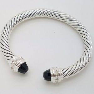 David Yurman 7mm Black Onyx & Diamonds Bracelet